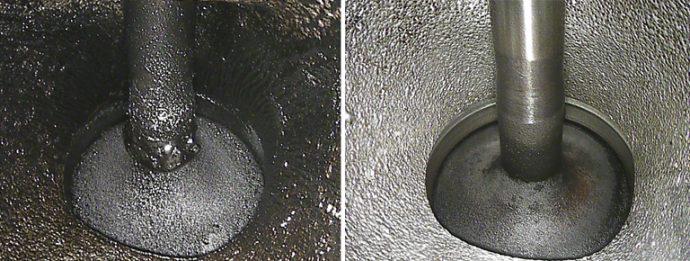 antes y después de válvula de Ford Escape 1.6 con 31.000 km