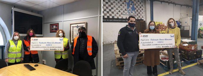 ASER realiza donaciones a bancos de alimentos Madrid y Lisboa