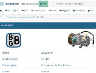 Bugobrot ya está presente en TecDoc como proveedor de datos