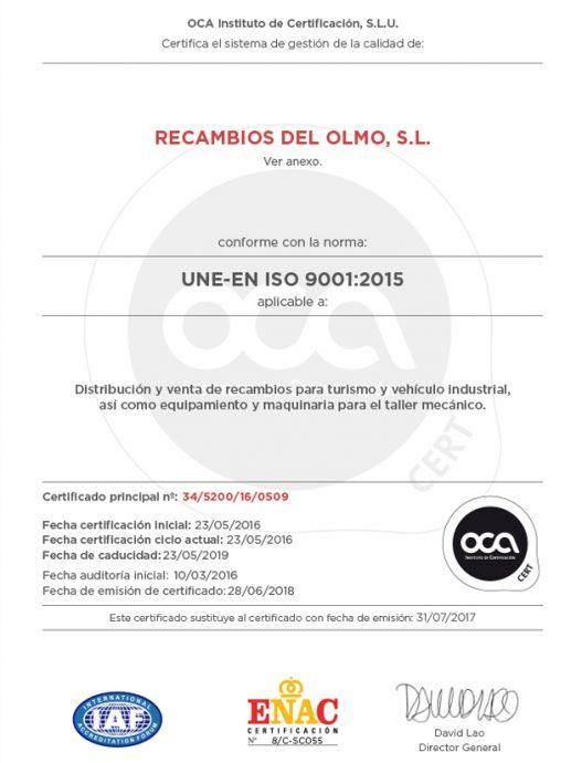 certificación de calidad ISO 9001 2015