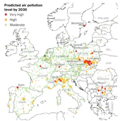 ciudades europeas más contaminadas 2030
