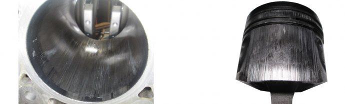 daños de gripado producidos en el cilindro y el pistón