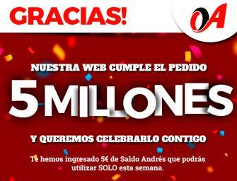 Neumáticos Andrés alcanza los cinco millones de pedidos online