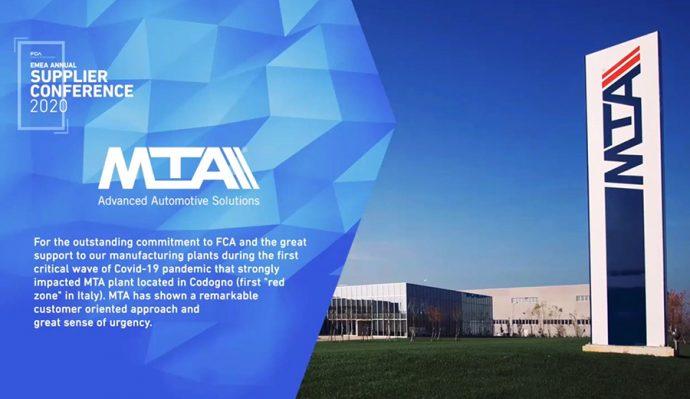 MTA premio Proveedor del Año 2020 por FCA en región EMEA