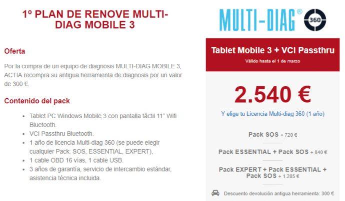 oferta Vagindauto Plan Renove equipo Multi-Diag Mobile 3