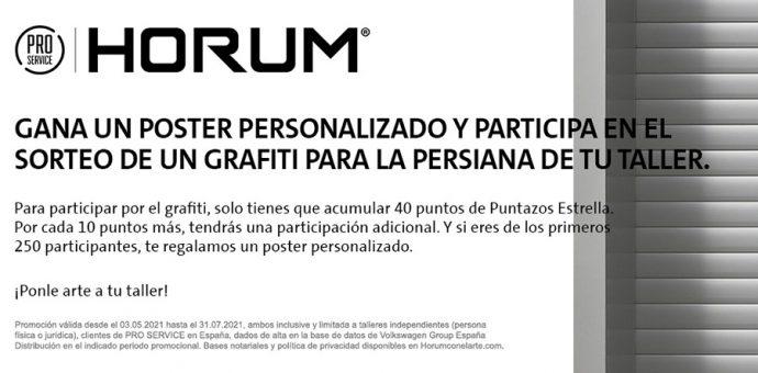 PRO SERVICE campaña HORUM con el Arte sorteo de grafitis del artista Xolaka y regalo de cuadros personalizados