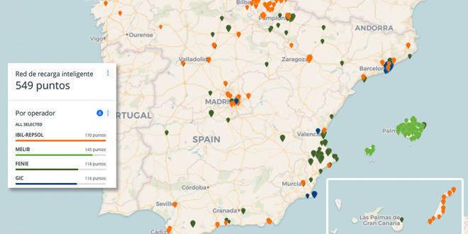 Red Eléctrica España mapa puntos de carga inteligente para vehículos eléctricos