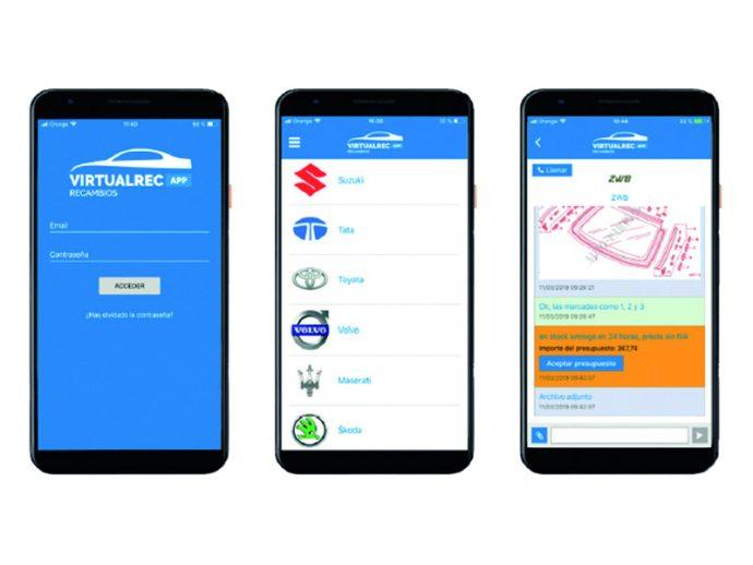 VirtualRec app móvil recambios originales para automoción