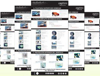 Póster infográfico de Zaphiro para el enmascarado y protección del coche